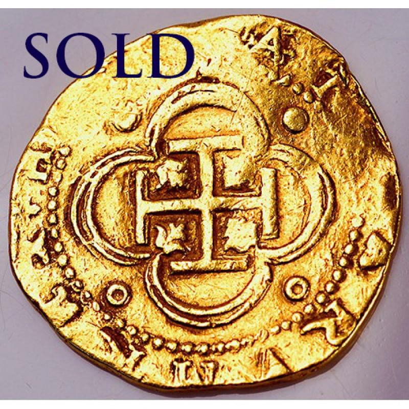 SPANISH 4 ESCUDOS GOLD COB circa 1556-1598