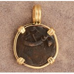 High Grade Ancient Widow's Mite Bible Coin in 14kt Gold Pendant