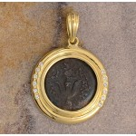 "18kt Gold and Diamond Coin Pendant with Authentic Ancient ""Widow's Mite"" Coin"