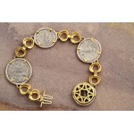 Ancient Roman four Coin Bracelet silver denarius in 14kt Solid Gold and Sterling Silver A.D. 193-249