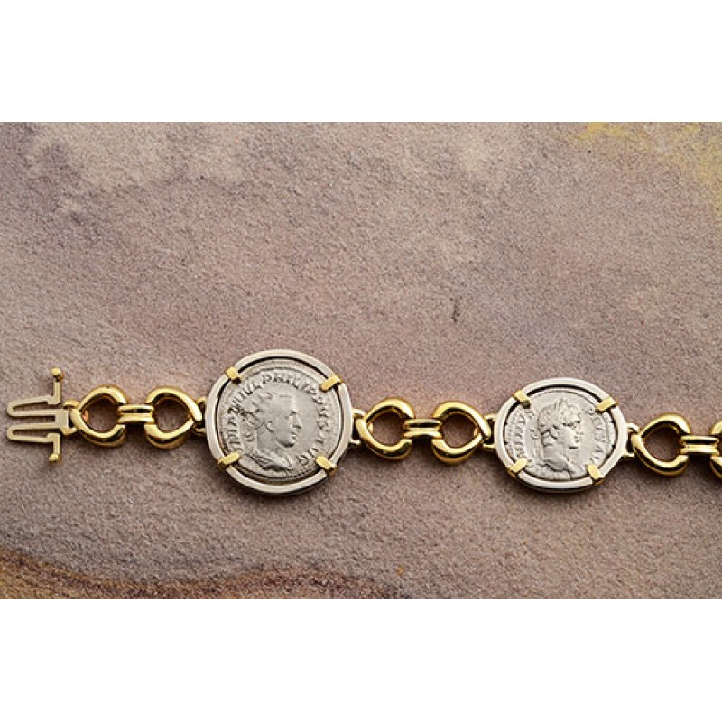 292a4c915f950e Ancient Roman four Coin Bracelet silver denarius in 14kt Solid Gold and  Sterling Silver A.D. 193-249