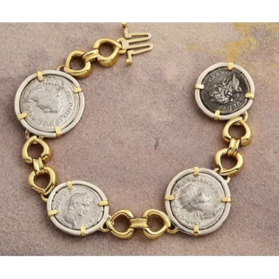Ancient Roman four Coin Bracelet silver denarius in 14kt Solid Gold & Sterling Silver A.D. 193-249