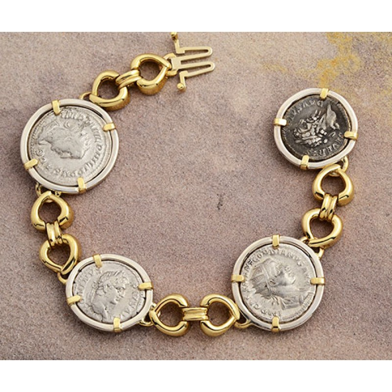 b743a89697accf Ancient Roman four Coin Bracelet silver denarius in 14kt Solid Gold ...