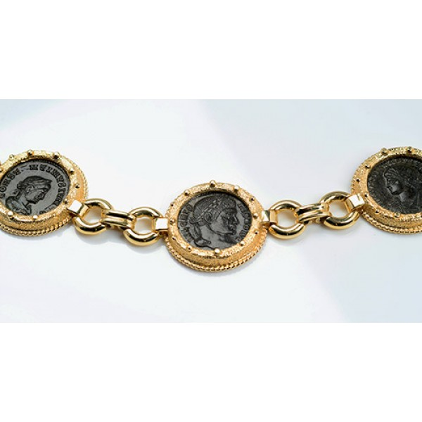 Ancient Roman Four Coin Bracelet Constantine I & Sons in 14kt Sold Gold circa 4th century A.D.