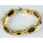 14kt gold Roman Four Coin Bracelet with Gemstones