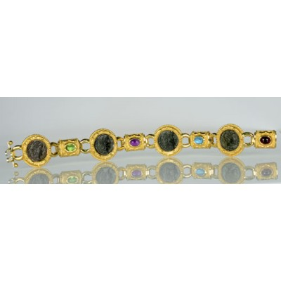 14kt gold Roman Four Coin Bracelet with Gemstones