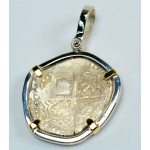 Atocha 2 Reales Grade III in Sterling Silver & 14kt Gold Pendant
