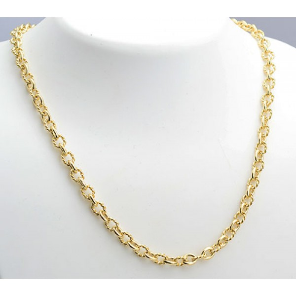 18kt Gold Hand-Made Twisted Wire Link Chain 22""