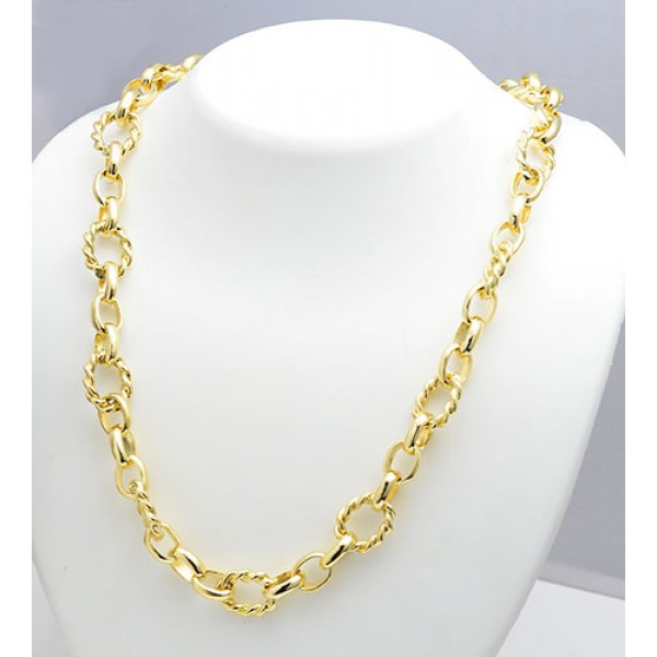 """18kt Gold Hand-Made Large Twisted Wire Oval Link Chain 22"""""""