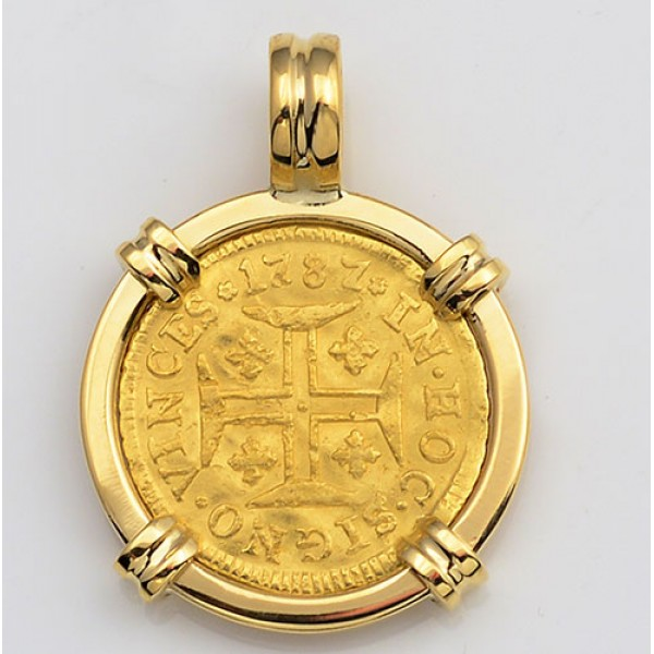 Portugal 400 Reis Gold Coin in Solid 18kt Gold Pendant dated 1787