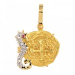 2 Escudos gold Doubloon Treasure Cob Coin  in 18kt Gold Seahorse Pendant with Diamonds and Ruby