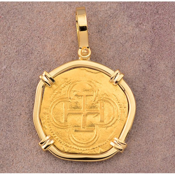 AUTHENTIC ONE ESCUDO GOLD COB COIN in Solid 18kt Yellow GOLD PENDANT circa 1556-1598