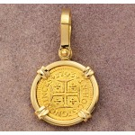 Portugal 400 Reis Gold Coin in Solid 18kt Gold Diamond Pendant dated 1743