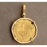 AUTHENTIC ONE ESCUDO GOLD COB COIN in Solid 18kt Yellow GOLD PENDANT circa 1516-1556