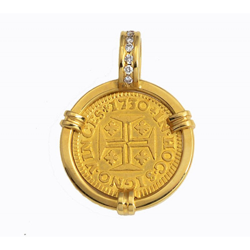 Portugal 400 reis gold coin in solid 18kt gold diamond pendant dated portugal 400 reis gold coin in solid 18kt gold diamond pendant dated 1730 aloadofball Image collections
