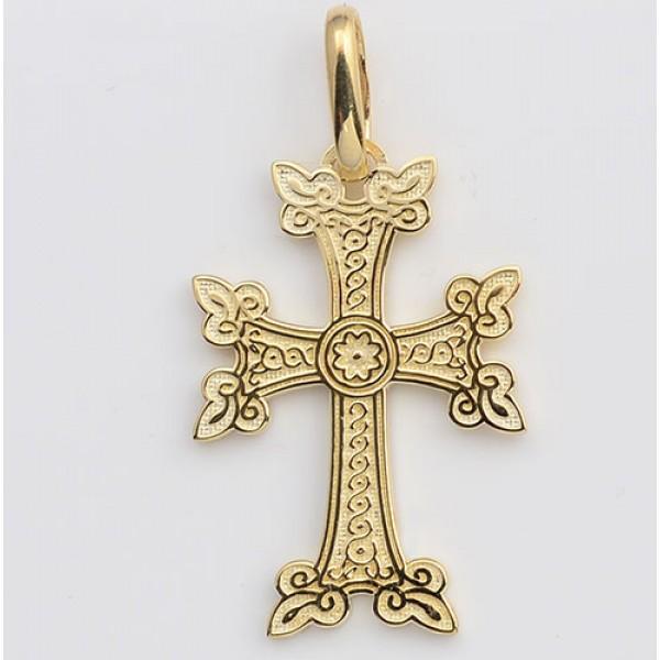 """Armenian Solid 14kt Gold Cross 1 1/4"""" Tall"""