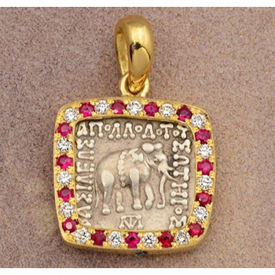 Ancient Baktria Silver Drachm Elephant Coin circa 174-165 B.C. in 18kt Gold and Diamond Pendant