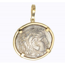 23d142c45 14kt Gold Pendant w Alexander the Great Ancient Greek Silver Tetradrachm  Coin 336-323 B.C.