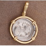 Beautiful Ancient Greece Silver Stater Pegasus and Athena Coin circa 350-300 B.C. in Solid 14kt Gold Pendant