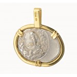 Ancient Greek Thessaly Larissa Horse Silver Drachm in18kt Gold & Diamond Pendant  circa 350-325 B.C.