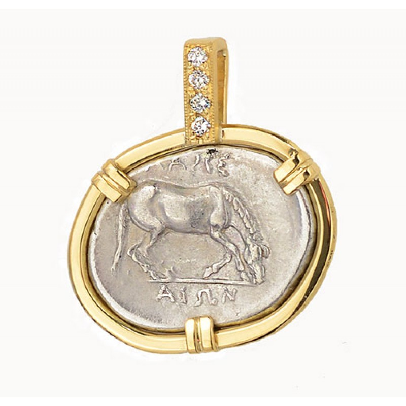 Ancient greek thessaly larissa horse silver drachm in18kt gold ancient greek thessaly larissa horse silver drachm in18kt gold diamond pendant circa 350 325 bc audiocablefo