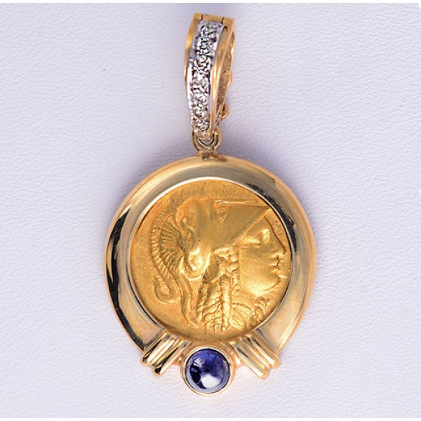 Ancient Greek Gold Stater Coin Alexander the Great (Athena Head) in 18kt Gold Pendant 330 BC