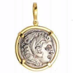 864984e35 18kt Gold Pendant w Alexander the Great Ancient Greek Silver Tetradrachm  Coin 336-323 B.C.