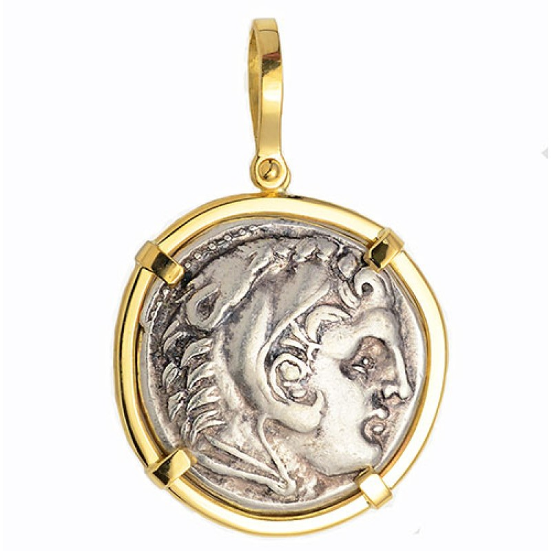 18kt Gold Pendant W Alexander The Great Ancient Greek Silver Tetradrachm Coin 336 323 B C