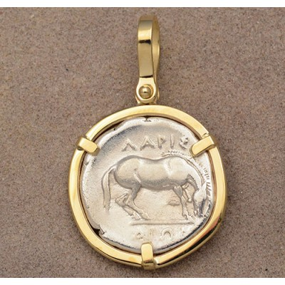 Ancient Greek Thessaly Larissa Horse Silver Drachm in 14kt Gold Pendant  circa 350-325 B.C.