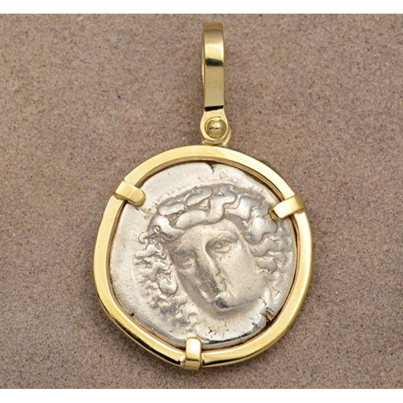Ancient greek thessaly larissa horse silver drachm in 14kt gold ancient greek thessaly larissa horse silver drachm in 14kt gold pendant circa 350 325 bc mozeypictures Images