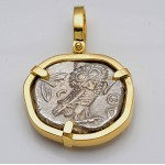 Ancient Greek Attica, Athens Owl Tetradrachm Silver Coin 449-413 B.C. in 18kt Gold Pendant