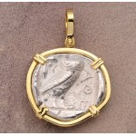 Ancient Greek Attica, Athens Owl Tetradrachm Silver Coin 454-404 B.C. in 18kt Gold Pendant