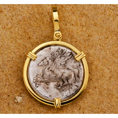Beautiful Ancient Greece Silver Stater Pegasus and Athena Coin circa 350-306 B.C. in Solid 18kt Gold Pendant
