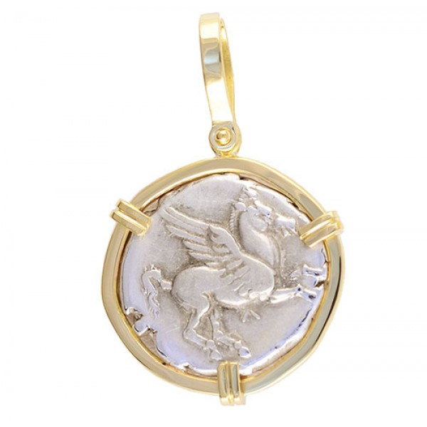 Beautiful Ancient Greece Silver Stater Pegasus and Athena Coin circa 400-330 B.C. in Solid 18kt Gold Pendant