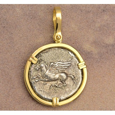 Beautiful Ancient Greece Silver Stater Pegasus & Athena Coin circa 405-345 B.C. in Solid 18kt Gold Pendant