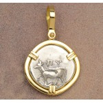 Ancient Greek Byzantion Cow Silver Drachm in 18kt Gold Pendant 340-320 B.C.