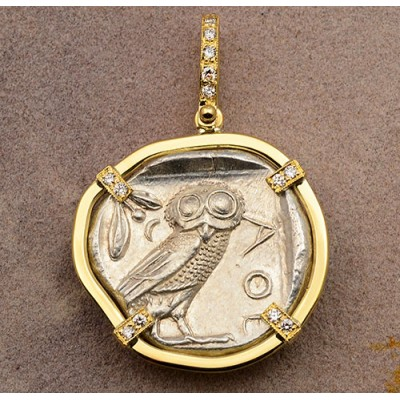 Ancient Greek Attica, Athens Owl Tetradrachm Silver Coin 454-428 B.C. in 18kt Gold Pendant with Diamonds