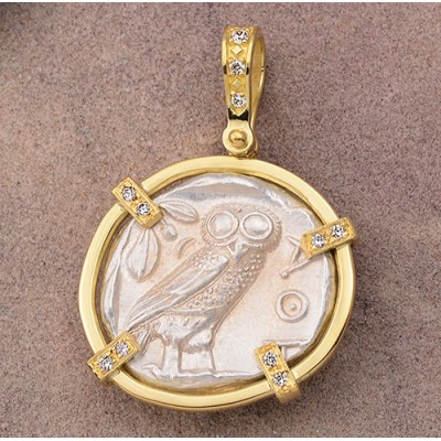 Ancient Greek Attica, Athens Owl Tetradrachm Silver Coin 454-404 B.C. in 18kt Gold Pendant with Diamonds