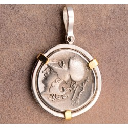 5a2c52c52 Beautiful Silver and 14kt Gold Ancient Greece Silver Goddess Athena Pendant  circa 450-400 B.C.