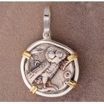 Ancient Greek Attica Athens Owl Tetradrachm Silver Coin 393-309 B.C. in Sterling Silver and 14kt Gold Pendant