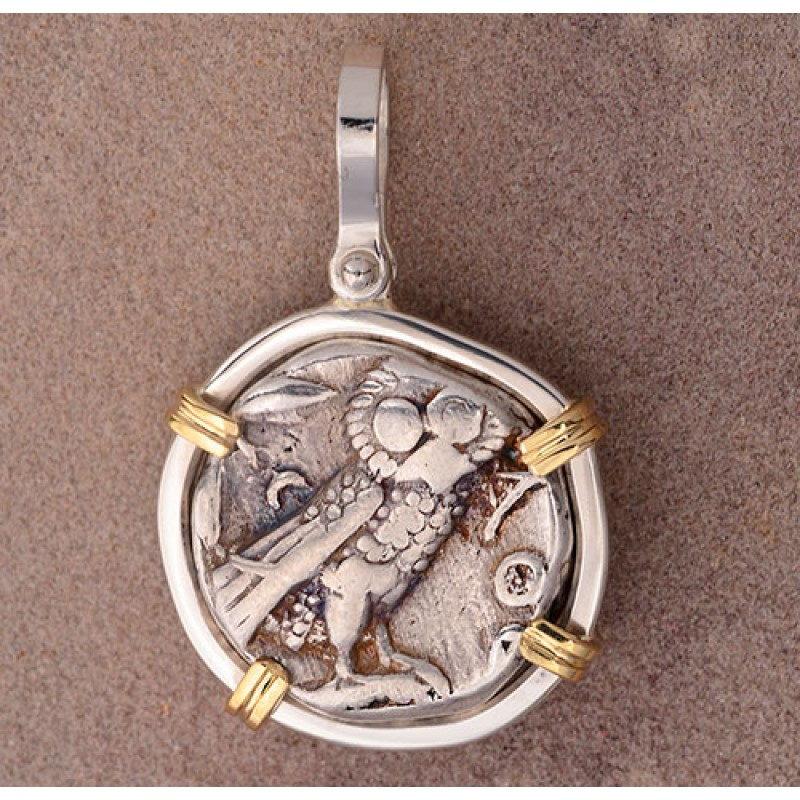 Ancient Greek Attica Athens Owl Tetradrachm Silver Coin 393-309 B C  in  Sterling Silver and 14kt Gold Pendant