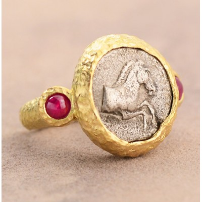 Ancient Greece Silver Horse Coin in hand-made 18kt Gold Ring with Rubies circa 470-460 B.C.