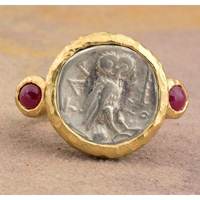 Ancient Greek Owl Silver Drachm in 18KT Gold Ring with Rubies circa 238-235 B.C.