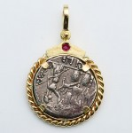 Ancient Roman Republic Silver Denarius Janus Head coin in 14kt Gold Pendant circa 119 B.C.