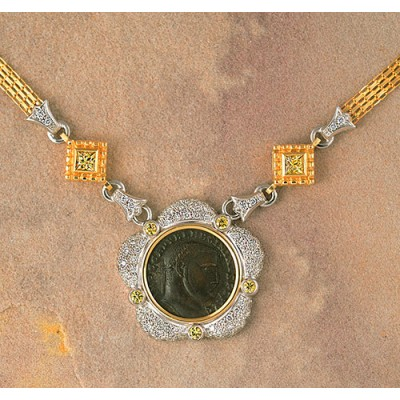 Roman Coin Diamond & Yellow Sapphire Necklace