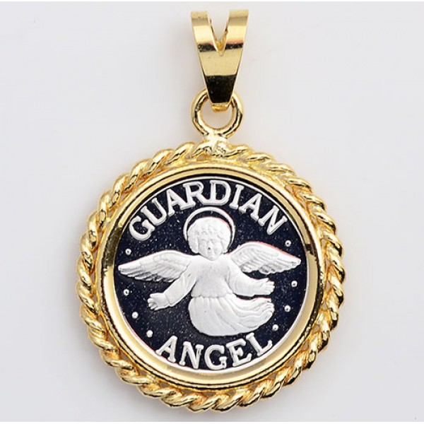 .999 PURE SILVER  Guardian Angel Coin (14mm) in SOLID 14kt GOLD Rope Pendant