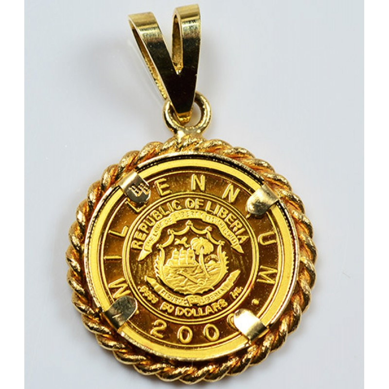 Pure Gold American Quarter Horse Coin In 14kt Gold Pendant