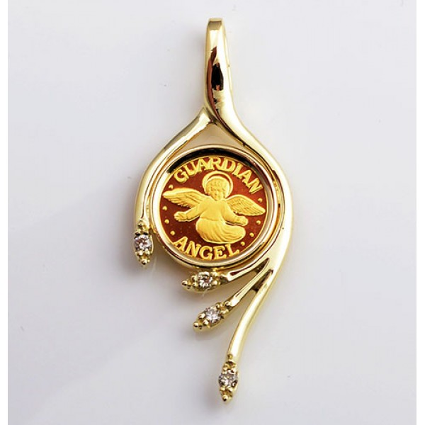 14KT GOLD DIAMOND PENDANT with 24KT GOLD GUARDIAN ANGEL COIN