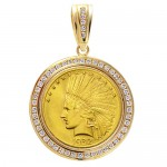 14KT GOLD DIAMOND PENDANT to fit U.S. $10 Indian Head Gold Coin . (coin excluded)