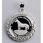 PURE SILVER AMERICAN QUARTER HORSE COIN (22mm) in STERLING SILVER ROPE PENDANT
